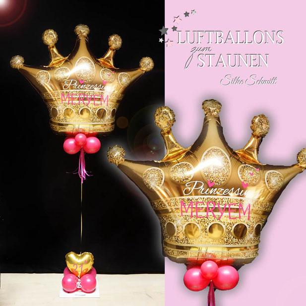Ballon Luftballon Heliumballon Helium Krone Crown Prinzessin Prinz Princess Prince mit Namen Alter beschriftet personalisiert Personalisierung Versand Deko Fotoshooting Foto Mädchen Junge pink blau Herz Geschenk Deko Dekoration Kindergeburtstag Party