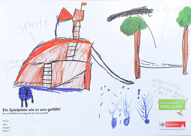 Ein Kind zeichnet seinen Wunsch.