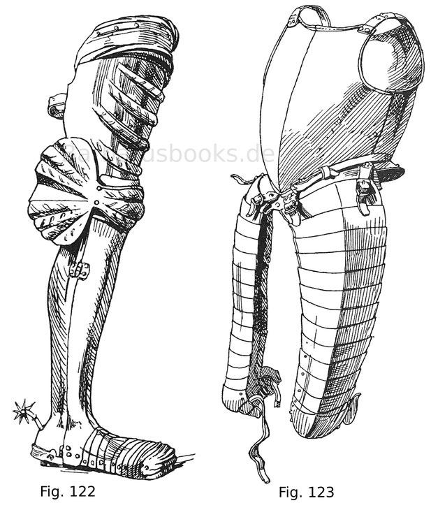 Vollständiges Beinzeug mit schmalen Oberdiechlingen von einem Kampfharnisch der Albrecht Achilles, Markgrafen von Brandenburg (gest. 1486) zugeschrieben ist. Das Beinzeug ist jedoch um etwas jünger und dürfte um 1505 geschlagen sein. Auf den Diechlingen i
