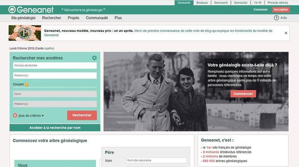 Page d'accueil du site Geneanet