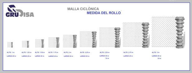 MALLA CICLÓNICA (CICLÓN) TAMAÑOS DEL ROLLO