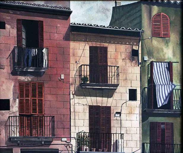 Fachadas de Palma 1992 , óleo sobre lienzo 60X73 cm