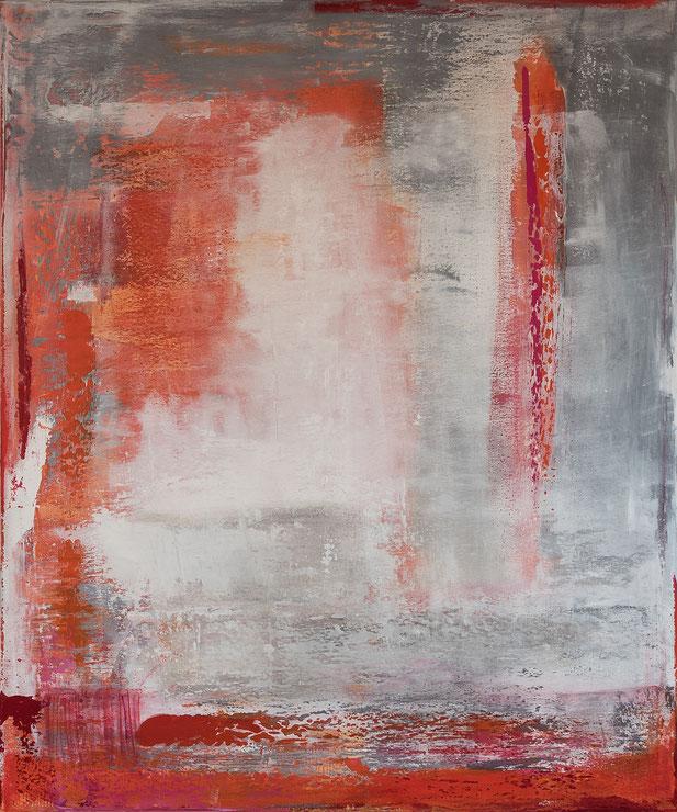 orange, rot, grau, Acryl auf Leinwand