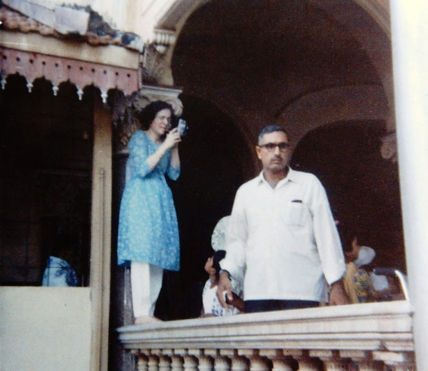 1969 Darshan program. The man next to her is Dr. Hoshang Bharucha, a long time Baba Lover from Navsari, India
