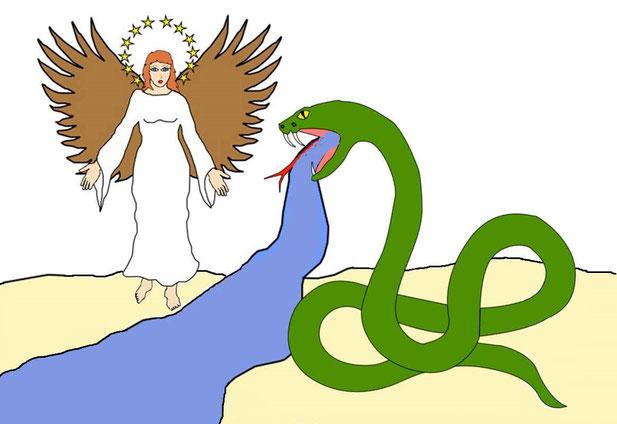 Les fidèles chrétiens, représentants terrestres de la femme, vont dans l'épreuve, démontrer leur attachement à la Souveraineté de Jéhovah Dieu et leur soumission au Royaume de Dieu. Le serpent va alors vomir un fleuve afin d'y entraîner la femme.