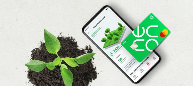 neon green App und Karte