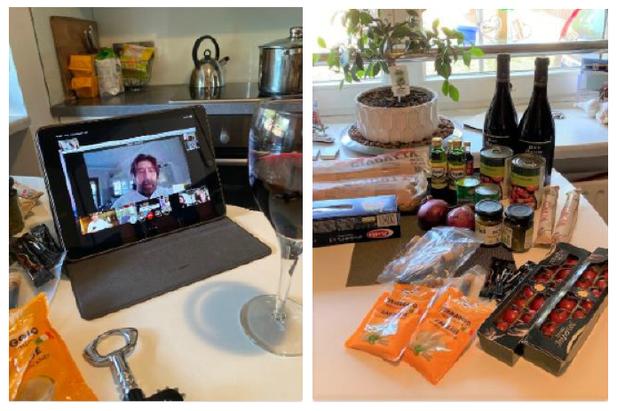 Für ein komplettes Online-Menü hatte Robert Hüneburg gesorgt: Bruschetta, dreierlei Pasta, Dessert und Aperitift