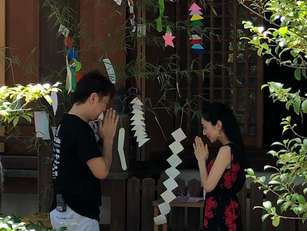 皇大神社 尼崎 平成30年 七夕 おは朝 八塚アナ 尼崎のおおさかさん 笹飾り