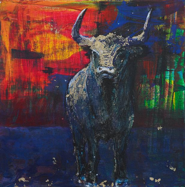 art bulls painting oil painting glitter bull stiere Gemälde Malerei Tanja Gott