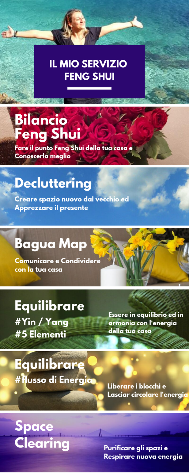 Il servizio Feng Shui di missBIAnCHI Conseil è composto da una Consulenza generale o Bilancio Feng Shui e da una serie di prestazioni specifiche come decluttering, space clearing,  purificazione degli spazi, bagua map, equilibrio yin/yang,  5 Elementi