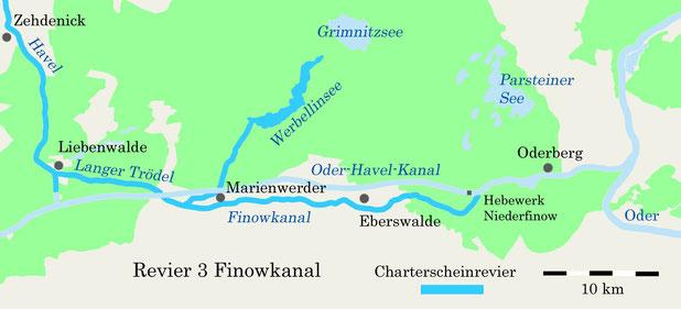 Charterscheinrevier Finowkanal und Werbellinsee