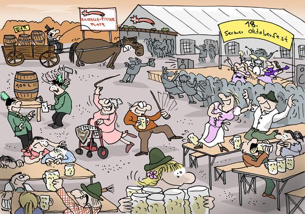 Darstellung einer lokalen Feier im Cartoonstil