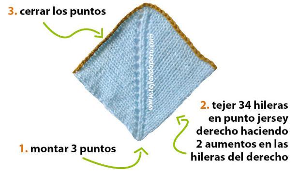 Gorro tipo capucha de 3 piezas para bebe en dos agujas o palillos
