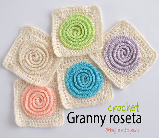 Granny roseta 3d tejida a crochet paso a paso