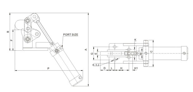 Drawing pneumatic toggle clamp