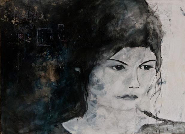 Audrey / Collage, Acryl und Eitempera auf Leinwand 90 x 110