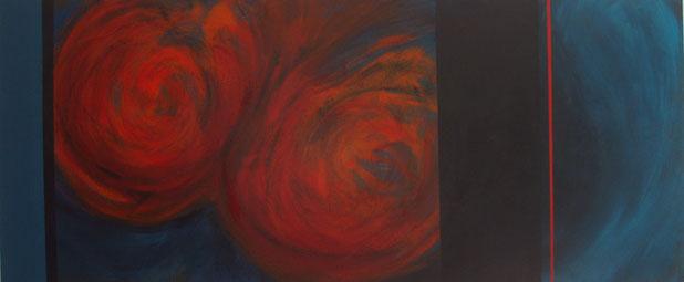 Nr. 2003-HO-009: 140 x 40 cm, Acryl auf MDF, Doppelrot auf Blau
