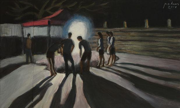 philipp christoph haas | studie zur serie 'nachtRaeume', akryl auf papier, 2018