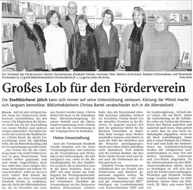 Jülicher Nachrichten vom 8.02.2007