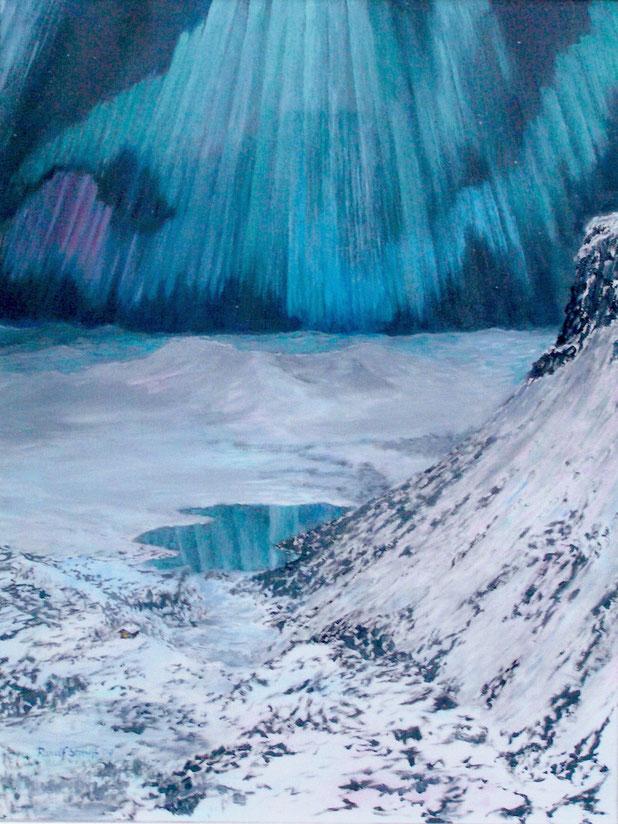 Nordlicht, Landschaft, Malerei