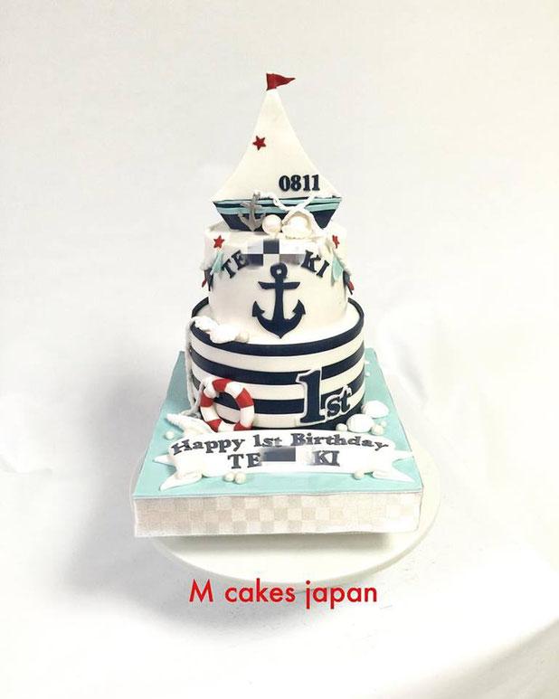#海 #男の子 #お誕生日おめでとう❤️ #大切 #誕生日ケーキ #1歳誕生日 #1stbirthday #fondantcake #fondant #sea #boat #shell