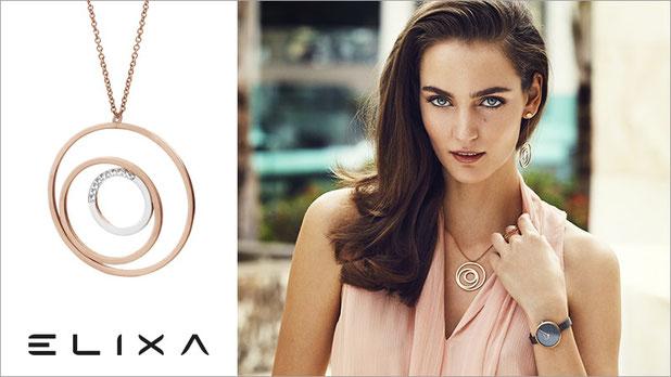 Bijoux, femme, Elixa, collier, bracelets, boucle d'oreille, bagues