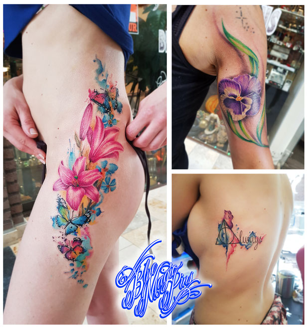 Blue Magic Pins Tattoo shop Belgium Genk custom design realistic black and grey watercolor flowers feminine lily poppy butterflies deathly hallows tattoos side belly arm back sexy beautiful girl
