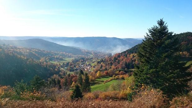 Vue sur le village de Basse-sur-le-Rupt depuis le col de Fouchure