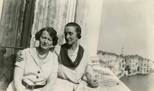 Courtesy of Charles Haynes : Elizabeth Patterson and Norina Matchabelli on a balcony of the Palazzo Vendramin in Venice, early 1930s. Norina's first husband, Karl Volmoeller, lived in this house -- including during the time of their marriage.