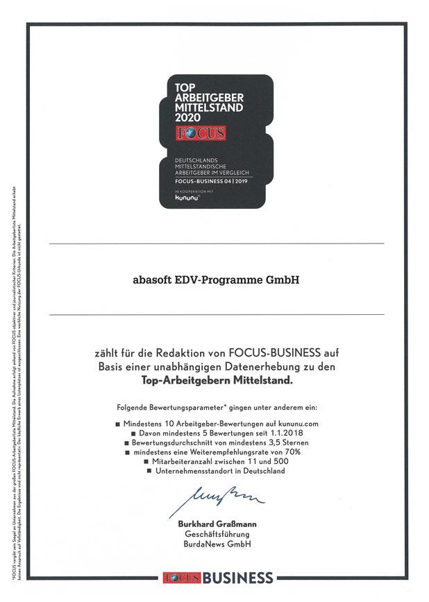 abasoft EDV-Programme Gmbh Focus Business Top Arbeitgeber Mittelstand 2020 kununu Bewertung positiv