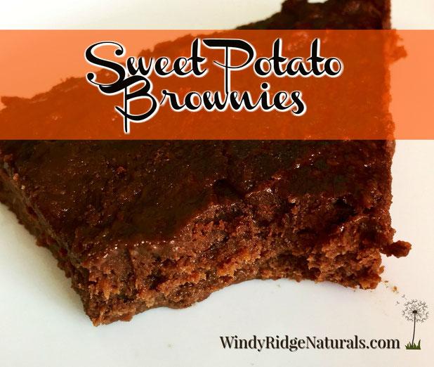 Gluten-free, Paleo, Grain-free, naturally sweet Sweet Potato Brownies from www.WindyRidgeNaturals.com