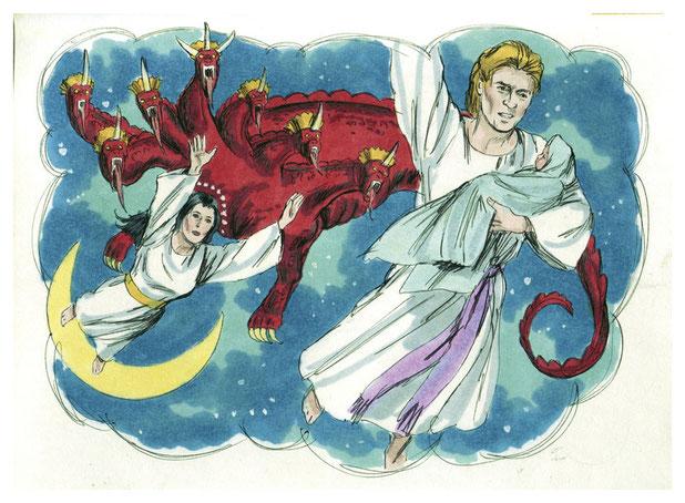 Le dragon couleur rouge-feu essaie de dévorer l'enfant de la femme céleste portant 12 étoiles, la lune sous ses pieds