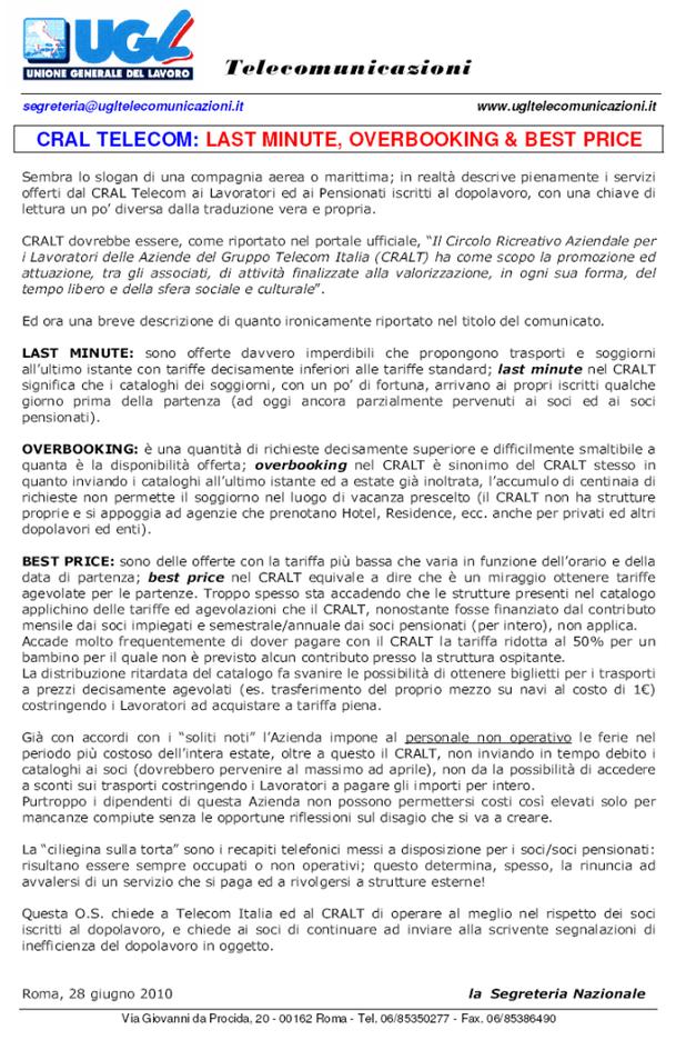 CRALT TELECOM 28.06.2010 - UGL TLC NAZIONALE - UGL ...