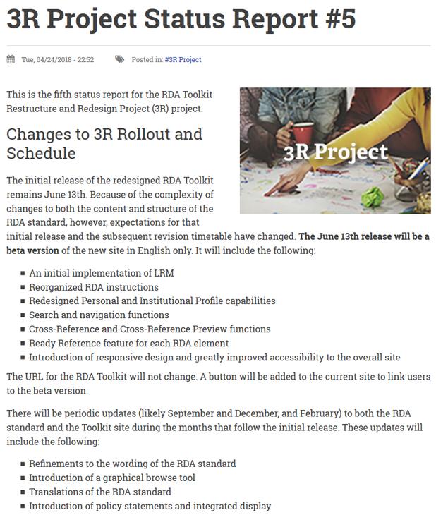 5. Statusbericht zum 3R-Projekt (Ausschnitt)