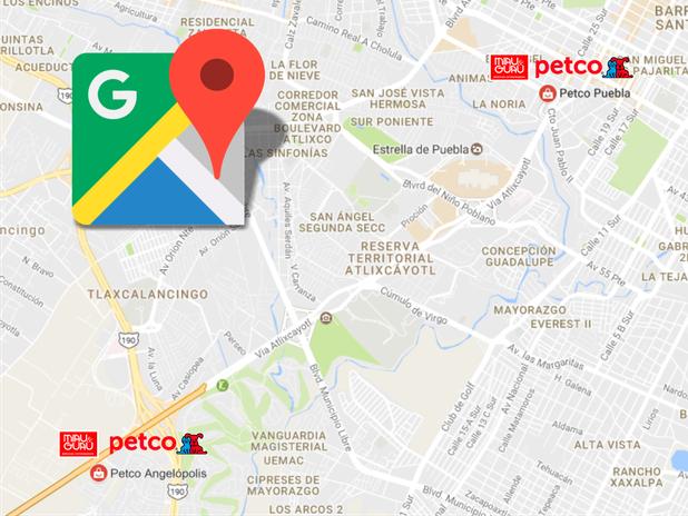 Ubicación Google Maps de las tiendas Petco en Puebla