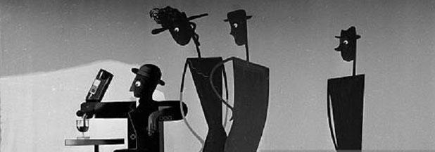 """AFFICHE de PAUL COLIN en HOMMAGE à CASSANDRE, Graphiste Ukrainien qui  illustra en 1932 le  slogan """"DUBO...DUBON...DUBONNET"""" célèbre dans le monde entier."""