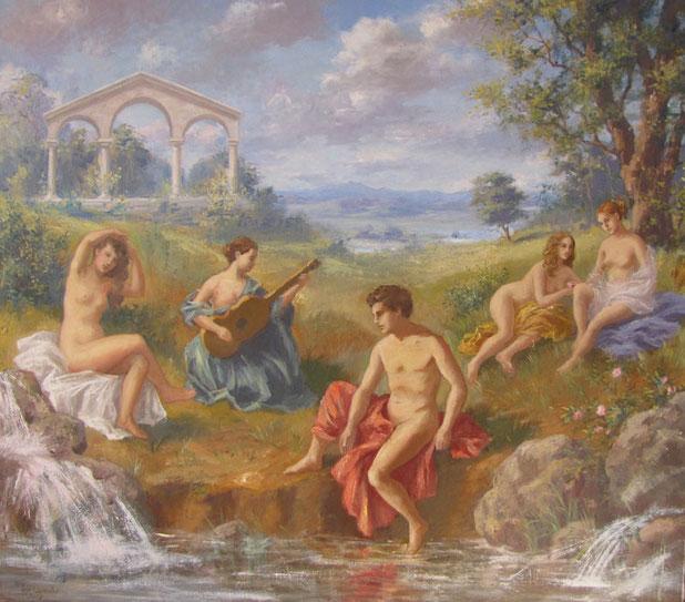 Tony Wahlander (Wåhlander) Composition de quatre femmes et un homme dans un paysage majestueux et classique