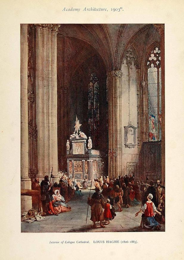 Grußkarte Kölner Dom, Innenansicht, Louis Haghe