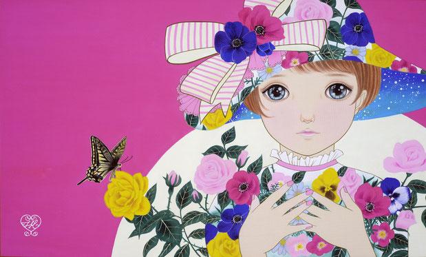 「flowergirl」絹・岩絵具・水干絵具 M8