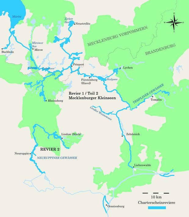 Charterscheinrevier Mecklenburger und Brandenburger Seen und Revier 2 Neuruppiner Gewässer