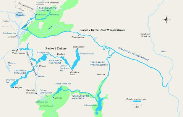 Charterscheinreviere Dahme mit Nebengewässern und Spree-Oder-Wasserstraße
