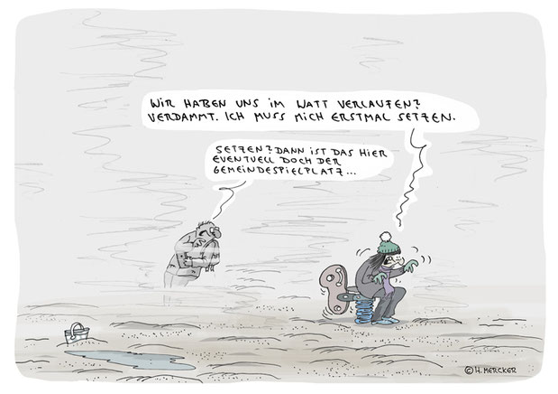 """Vom Cartoonisten Hannes Mercker: Cartoon """"Klein und grün"""""""