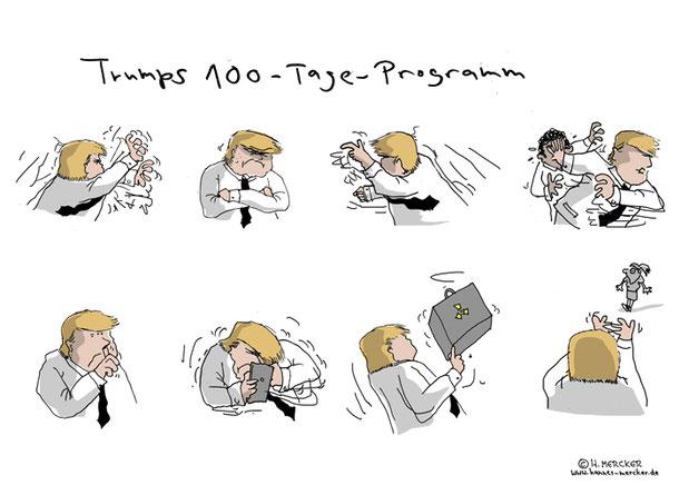 tagesaktueller Cartoon zur Präsentation des 100-Tage-Programms von Trump im US-Wahlkampf