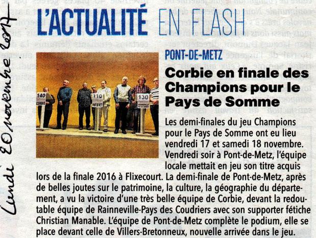 Demi-finale de Pont-de-Metz - Article du Courrier Picard - Novembre 2017