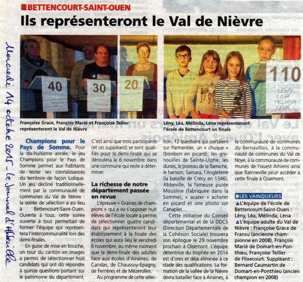 Soirée de Bettencourt Saint Ouen - Article du Journal d'Abbeville - Octobre 2015