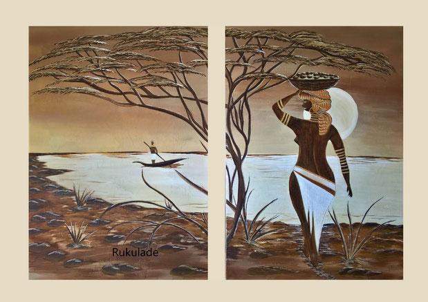 Aryl auf Leinwand Original Zweiteiler 2 x 70 x 100 cm, Nachdruck als Leinwanddruck erhältlich