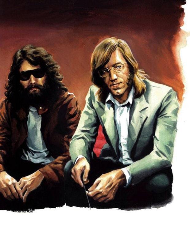jim morrison e Ray Manzarek ritratti in disegno in un intervista