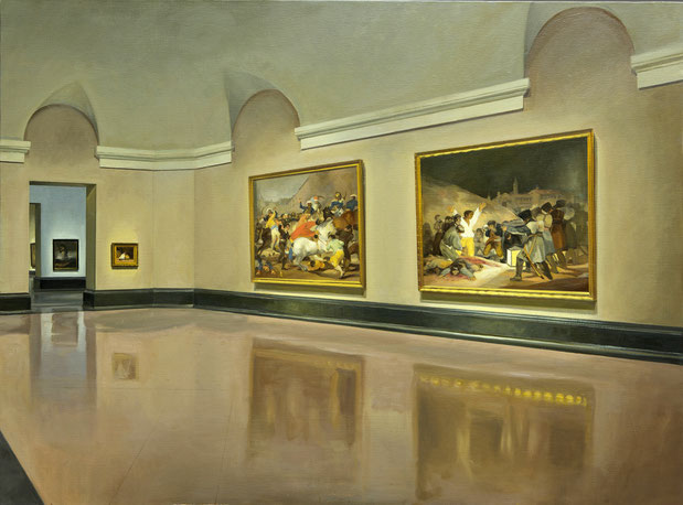 Vista perspectiva interior Goya 2 de mayo carga mamelucos 3 de mayo fusilamientos