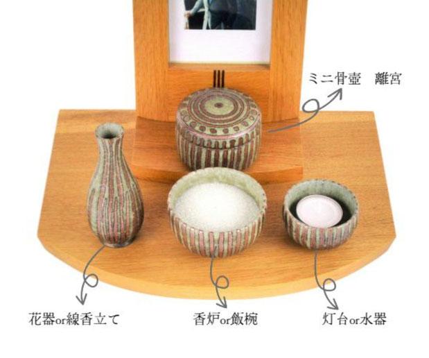 信楽焼の手元供養 こころの杖 ミニ骨壺と三具足 離宮