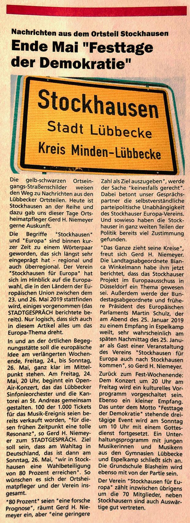 """Allgemeiner Bericht über """"Stockhausen für Europa"""" (Stadtgespräch – Magazin für das Lübbecker Land, 01/2019, S. 4)"""